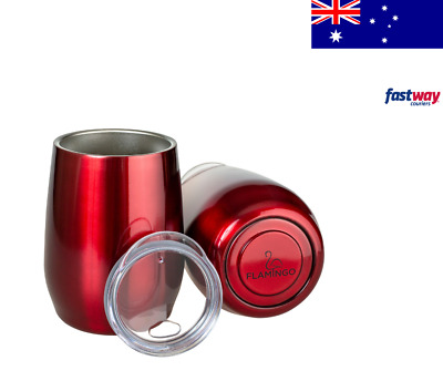 Insulated Wine Tumbler 12oz - Wine Cup + Lid Stemless Vacuum Travel Coffee Mug