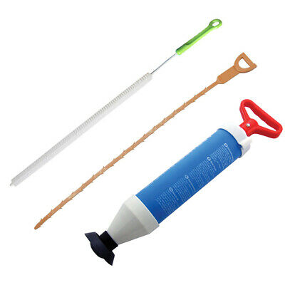 3Pc Drain Pipe Sink Unblocking Tool Set - Suction Plunger + Flexible Brushes