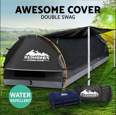 WEISSHORN Double Camping Swags Canvas Free Standing Dome Tent Bag Free Postage