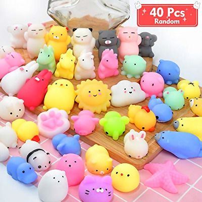 ONLYO Mochi Squishy Toys, 40 PCS Random Party Favors Mini Squeeze Funny Toy Soft