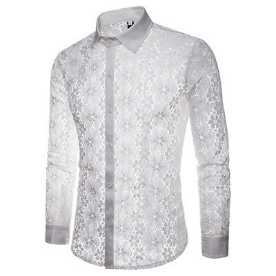 White Tops Blouse Shirt Clothing Clothes Party Club Costume Long Sleeve Lapel