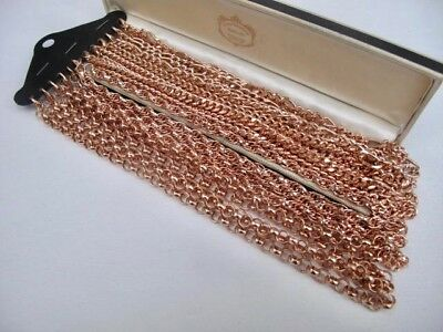 """New 9ct ROSE GOLD Plated JOB LOT 12 Chain NECKLACE Belcher Rope Curb Figaro 22"""""""