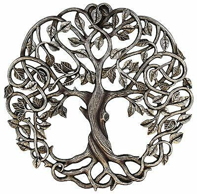 Tree Of Life Wall Plaque Decorative Garden Art Sculpture Antique Silver Finish