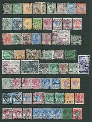 Collection of various mixed used Malaya stamps.