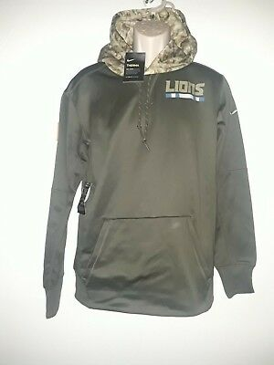 NIKE MEN S SALUTE To Service NFL Detroit Lions Pullover Hoodie Size ... 942bc7c57
