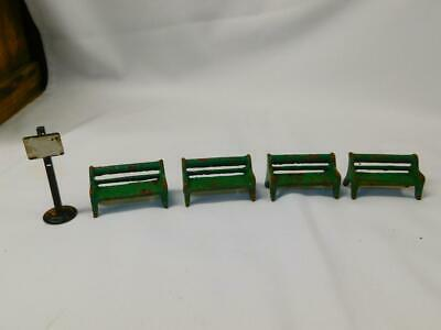 5 pc Antique Vintage Miniature CAST IRON PARK BENCH Green & Sign Lot Train RR