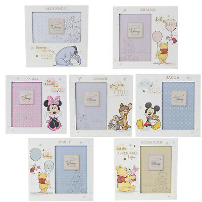 Personalised Engraved Disney Baby Photo Frame Pooh Mickey Minney Baby Gift