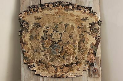 Antique French Tapestry panel Aubusson hand woven chair back textile Fabric