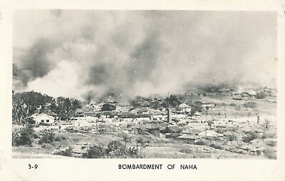 WWII 1945 USMC Okinawa RPPC by Grogan No 3-9 Bombardment of Naha