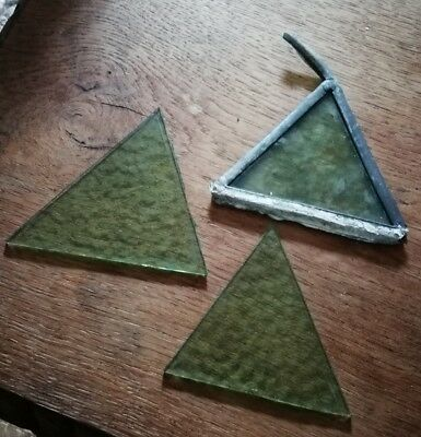 3 x Old piece of stained glass spares/repairs
