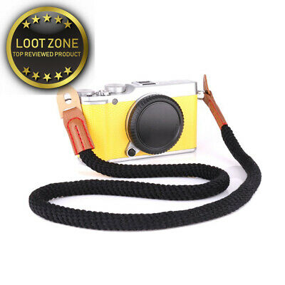 LXH Cotton Camera Wrist Strap, Soft with Leather Shoulder Neck Strap,DSLR...