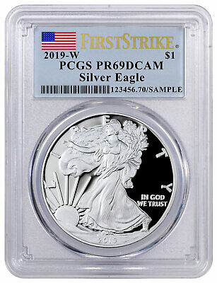 2019 W Proof American Silver Eagle PCGS PR69 DCAM FS Flag Label SKU57120
