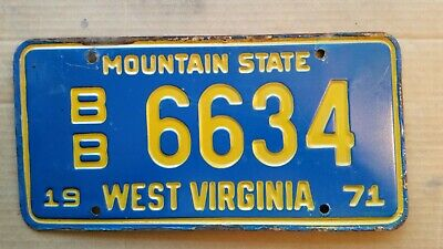 License Plate, West Virginia, 1971, Recessed Lettering, BB 6634