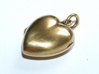 Scarce Victorian Solid 15ct Gold Puffy Heart Locket – Pendant Beautiful Example