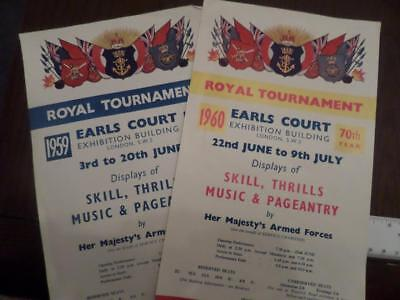 2 x sFlyer Royal Tournament  Earls Court 1959/1960  Her Majesty's Armed Forces