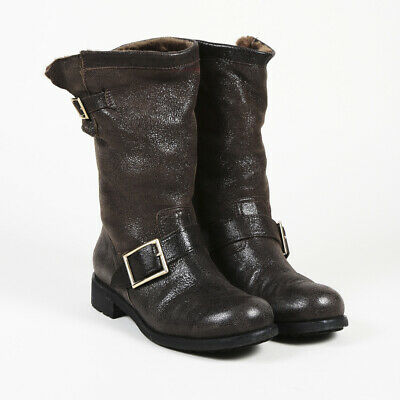 9cdd6f29e05a JIMMY CHOO LEATHER Suede Moto Boots SZ 38 -  145.00