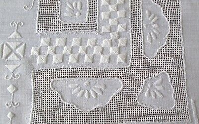 """fine antique linen tablecloth lots of raised drawnwork + embroidery, 85x70"""""""