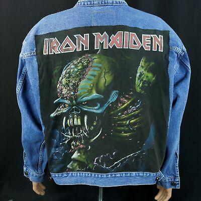 Iron Maiden Denim Jacket The Final Frontier Blue Jean Trucker Adult Mens  XLarge 96233824f