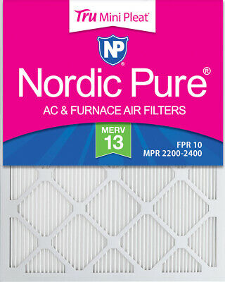 20x24x1 (19_1/2x23_1/2) MERV 13 Tru Mini Pleat AC Furnace Air Filters 4 Pack