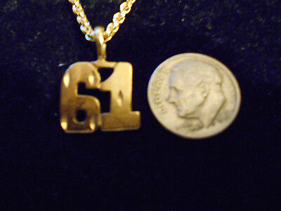bling gold plated game fashion jewelry number 61 pendant charm hip hop necklace