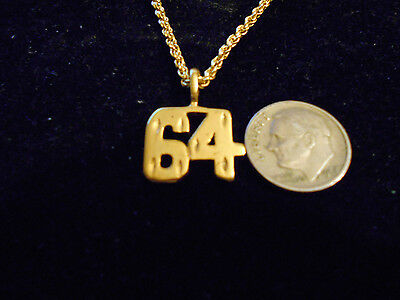 bling gold plated game fashion jewelry number 64 pendant charm hip hop necklace