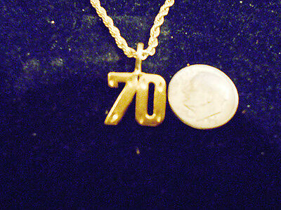 bling gold plated game fashion jewelry number 70 pendant charm hip hop necklace
