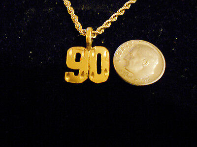 bling gold plated game fashion jewelry number 90 pendant charm hip hop necklace