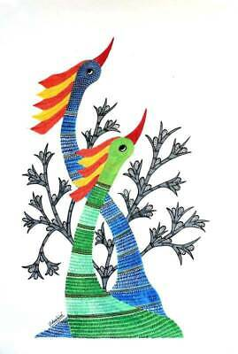 Peacocks at Dusk Trad'l Gond Painting on Handmade Paper Signed NOVICA India