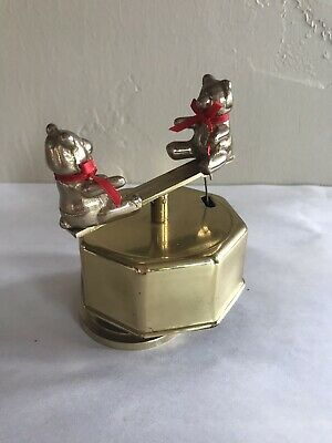 Rare Vintage Brass Double Teddy Bear Teeter Totter Musical Box Decor