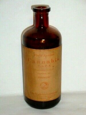 Nice Old Upjohn Cannabis Pharmaceutical Controlled Substance Medicine Bottle