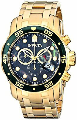 Invicta Mens Pro Diver Scuba Swiss Chronograph Black Dial 18k Gold Plated Watch