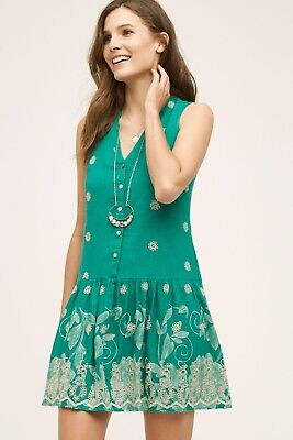 c520f65cbcbf ANTHROPOLOGIE NWT $158 Maeve Pippa Embroidered Eyelet Cami Lined Dress Size  XS