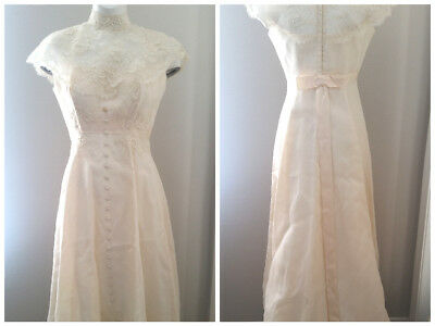 Vtg 60'S Lace FAUX PEARL Victorian Empire Waist WEDDING Train Creme DRESS XS/S