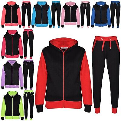 Kids Boys Girls Tracksuit Fleece Hooded Hoodie Bottom Jogging Suit Jogger 2-13Yr