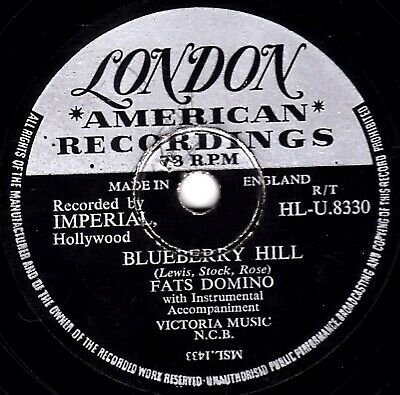 Classic Uk#6  Fats Domino  78  Blueberry Hill / I Can't Go On London Hlu 8330 V+