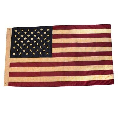 3x5 Ft Tea Stained United States Embroidered US Flag 3 x 5 Sewn USA 3'x5' Flags