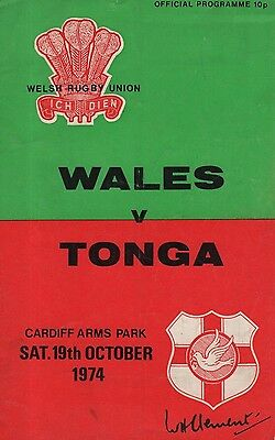 WELSH RUGBY PROGRAMMES - WALES -v- TONGA, CARDIFF ARMS PARK (19 October 1974)