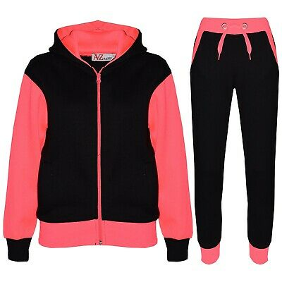Kids Girls Tracksuit Fleece Hooded Hoodie Bottom Jogging Suit Jogger 5-13 Years
