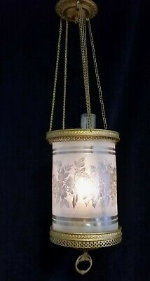 Antique Brass Hanging Hall Oil Lamp,Etched Frosted Floral Round Glass Shade