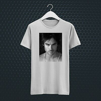 Damon Salvatore Vampire Diaries White Unisex Tee T-Shirt Vv35