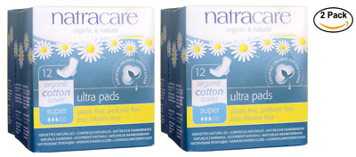 NEW 5PACK Natracare Organic Cotton Cover Ultra Pads - Super 12 Ct each