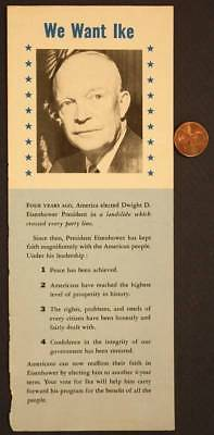 1952 We Want Ike Citizens Dwight D.Eisenhower for President campaign brochure!*
