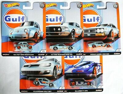 Hot Wheels Car Culture 5-CAR SET GULF - Fiat / Ford / Nissan / VW / McLaren 1:64