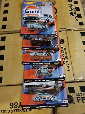 Hot Wheels Gulf Car Culture Set W/real Riders(5 Gulf Cars)