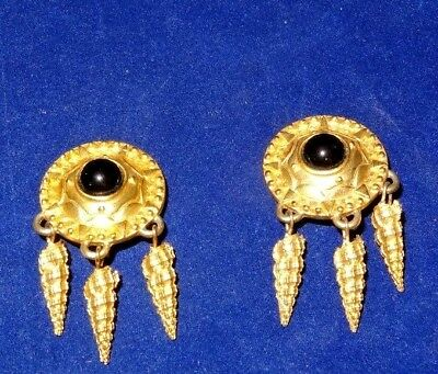 Vintage Retro 1980's Patti Horn Gold Tone Clip on Earrings