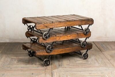 Rustic Wooden Coffee Table Industrial Style Coffee Table With Wheels