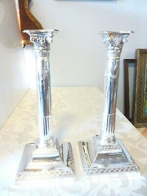 """English Sterling George VCandlesticks by Hawksworth and Eyre 1921 12"""" high"""