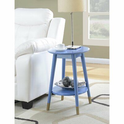 3c19b3b8633 CONVENIENCE CONCEPTS WILSON Mid Century Round End Table in White ...