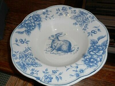 Mint New Maxcera Blue White Toile Easter Bunny Rabbit Large Serving Bowl