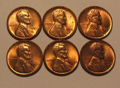 1956 1957 1958 PD Lincoln Cent Penny - Mixed AU+/BU Condition - 50SU